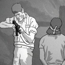 Still photograph from B'Tselem's internet campaign against security forces' violence. Animation: Alon Simon