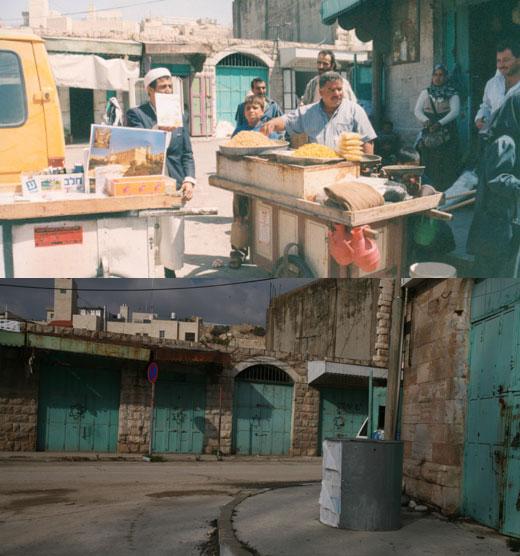 מתחם א-סהלה בחברון, סמוך לשוק הגמלים. למעלה: בשנות התשעים, למטה: בשנת 2007. צילומים: נאאיף השלמון, מרכז אל-וטן וקרן מנור, אקטיבסטילס.