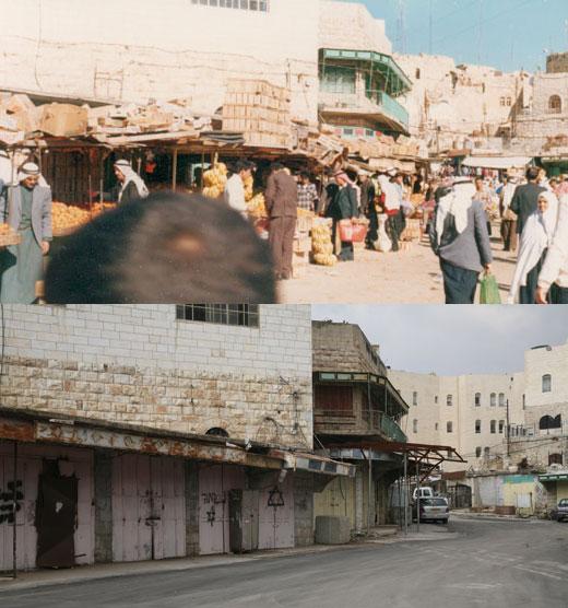 שוק הפירות בחברון. למעלה: בשנות התשעים, למטה: בשנת 2007. צילומים: נאאיף השלמון, מרכז אל-וטן וקרן מנור, אקטיבסטילס.