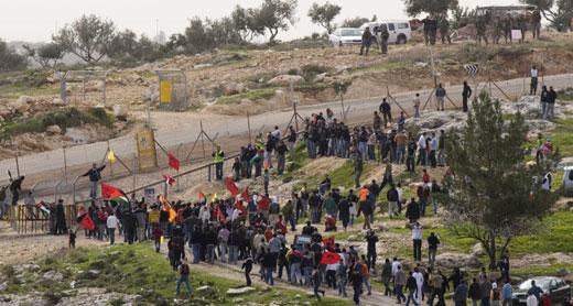 A demonstration in Bil'in. Photo: Oren Ziv, Activestills.org, 22 Feb. 2008