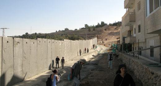 الجدار الفاصل القريب من البيوت في قرية الولجة. تصوير: ايال هرئوفيني، بتسيلم، 5.11.10.
