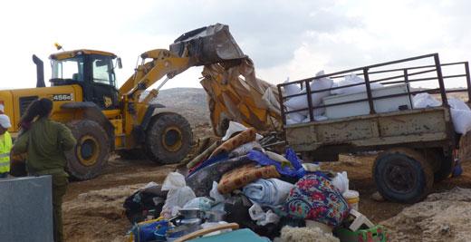 Demolition of residential tent and shack, Khirbet Susiya, South Hebron Hills, 24 November 2011. Photo: Nasser Nawaj'ah, B'Tselem.