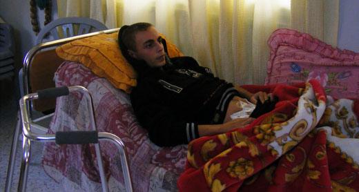 Muhammad al-Badan at his home. Photo: Suha Zeid, B'Tselem, 3 Jan. 2013