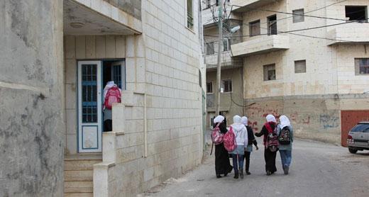Burqah high school students. Photo: Osnat Skoblinski, B'Tselem, 30 March 2014.