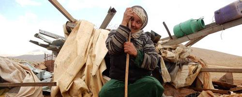 Suraya Bsharat in al-Hadidiyah this morning. Photo: 'Aref Daraghmeh, B'Tselem, 3 Dec. 2015