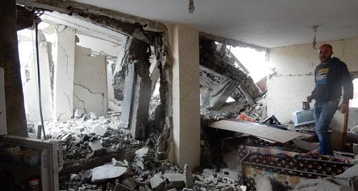 Home of the 'Amer family, neighbors of the Abu Shahins, damaged by the demolition and no longer habitable. Photo by Iyad Hadad, B'Tselem, 16 Nov. 2015