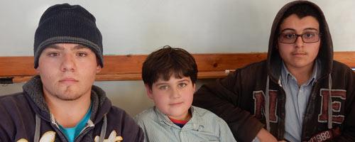The Hammad brothers. From right: Zein, 14, Zakaria, 8, and Amir, 16. Photo by Iyad Hadad, B'Tselem, 10 December 2015