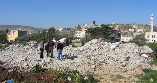 Ruins of Abu a-Rob family's home, Qabatiyah. Photo by Abdulkarim Sadi, B'Tselem, 4 April 2016