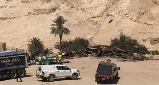 Structure demolished by the authorities in Wadi al-Qalt. Photo: Mus'ab 'Abbas, B'Tselem, 4 April 2016.