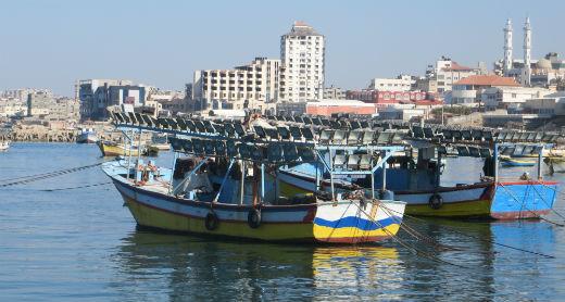 Launch boats in Gaza's fishing port. Photo by Muhammad Sabah, B'Tselem, 11 Jan. 2017