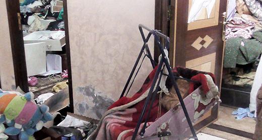 Baby Sarah's crib, after the search. Photo by Ayat al-Ja'bri, 20 January 2017