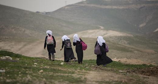 School girls in Khan al-Ahmar community. Photo by Faiz Abu Rmeleh, Activestills