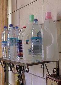 Water stored in bottles in Nablus. Photo: Salma a-Deb'i, B'Tselem, 7 September 2017