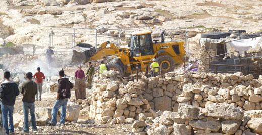 House demolition, al-Mufaqarah, South Hebron Hills, 24 November 2011. Photo: Nasser Nawaj'ah, B'Tselem.