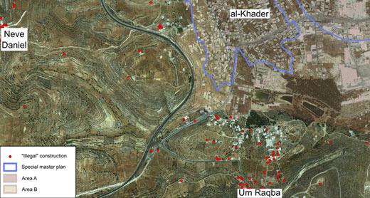 Aerial photograph of the town of al-Khader and Um Raqba neighborhood